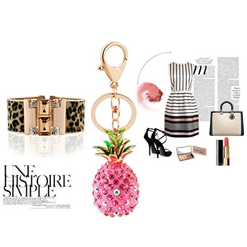 Cute Key Chain Shiny Crystal Pineapple Key Ring Mini Bag Decoration for Girls and Women(Pink) by leomoste (Image #4)