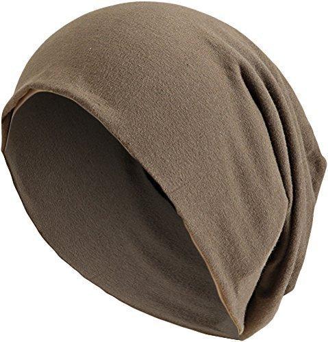 5d39459b73b430 Damen Herren Jersey Long Beanie lange Slouch Mütze One Size Dunkel Beige