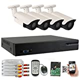 Cheap GW Security 2.1 MegaPixel HD 1080P Color Night Vision Security Camera System with 4 Channel DVR and 4 x 1080P Starlight Outdoor/Indoor Bullet Cameras, Quick QR Code Remote Access
