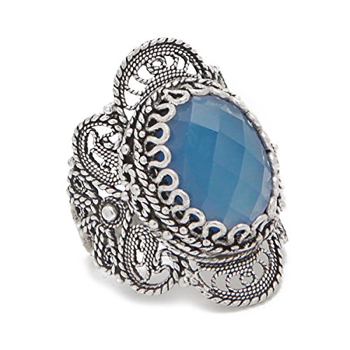 Blue Agate 925 Sterling Silver Filigree Ring (10)