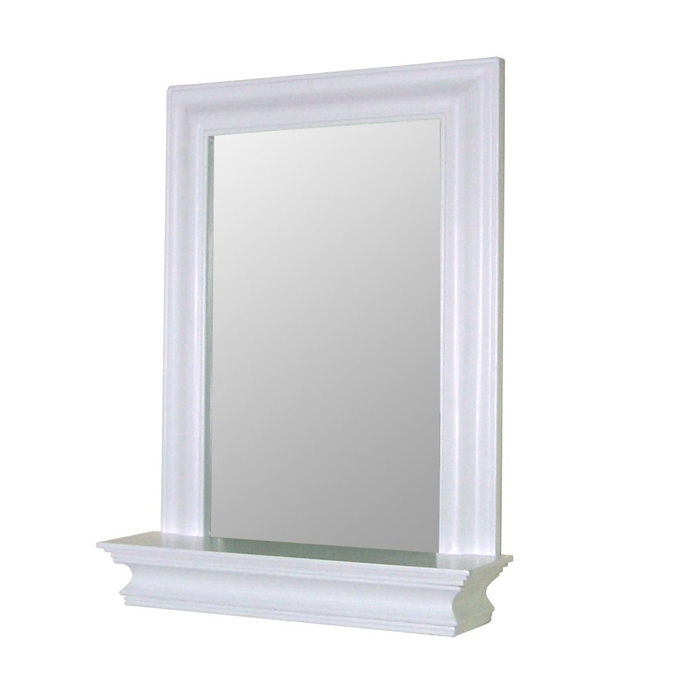 Frame bathroom wall mirror - Amazon Com Elegant Home Fashions Stratford Collection Framed Mirror With Shelf White Home Kitchen