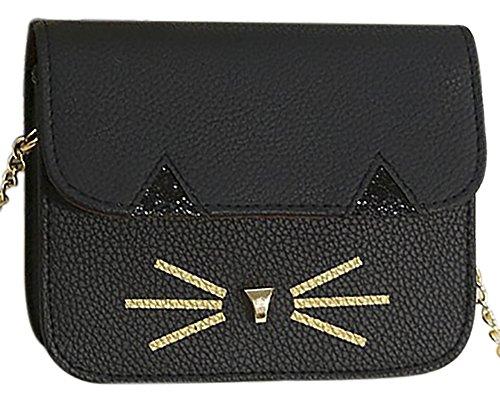Cat Black Women's Cross Satchel Shoulder Single Body Handbag Square Bag Stlye Mini QZUnique 1IwxOw