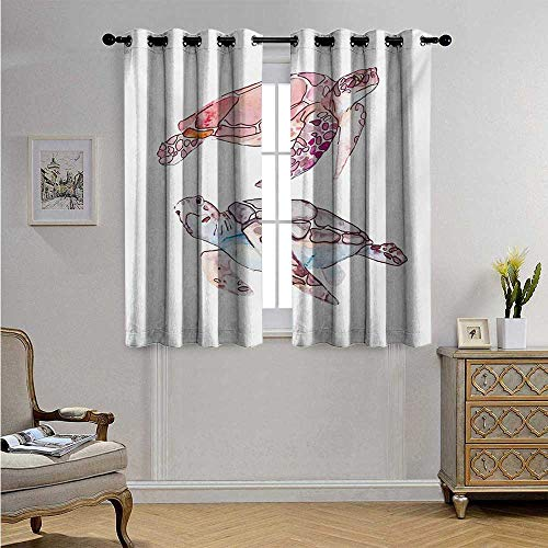 Turtle Decorative Curtains for Living Room Hand Painted Watercolor Artwork of Two Turtles Pastel Cute Underwater Theme Blackout Drapes W55 x L39(140cm x 100cm) Pink Fuchsia Purple