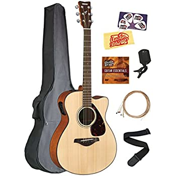yamaha fsx800c small body acoustic electric guitar bundle with gig bag tuner strap. Black Bedroom Furniture Sets. Home Design Ideas