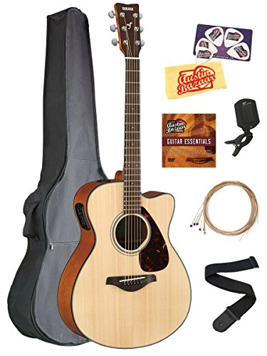 Yamaha FSX800C Small Body Acoustic-Electric Guitar Bundle with Gig Bag, Tuner, Strap, Instructional DVD, Strings, Picks, and Polishing Cloth – Natural
