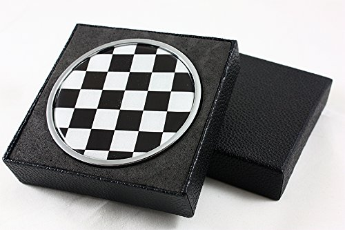 for Mini Cooper S Countryman Paceman Black White Checkered Front Grill Emblem - Badges Checkered