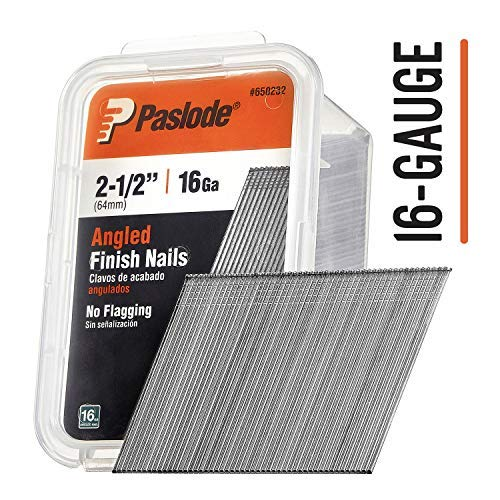 Paslode - 650232 2 1/2-Inch by 16 Gauge 20 Degree Angled Galvanized Finish Nails for Finish Nailer (2,000 per Box) ()