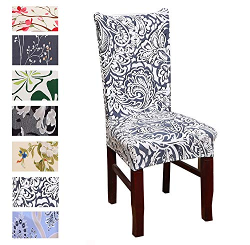 Argstar 2 Pack Chair Slipcovers for Dining Room Spandex Protector Covers for Kitchen Pattern Designed X_05