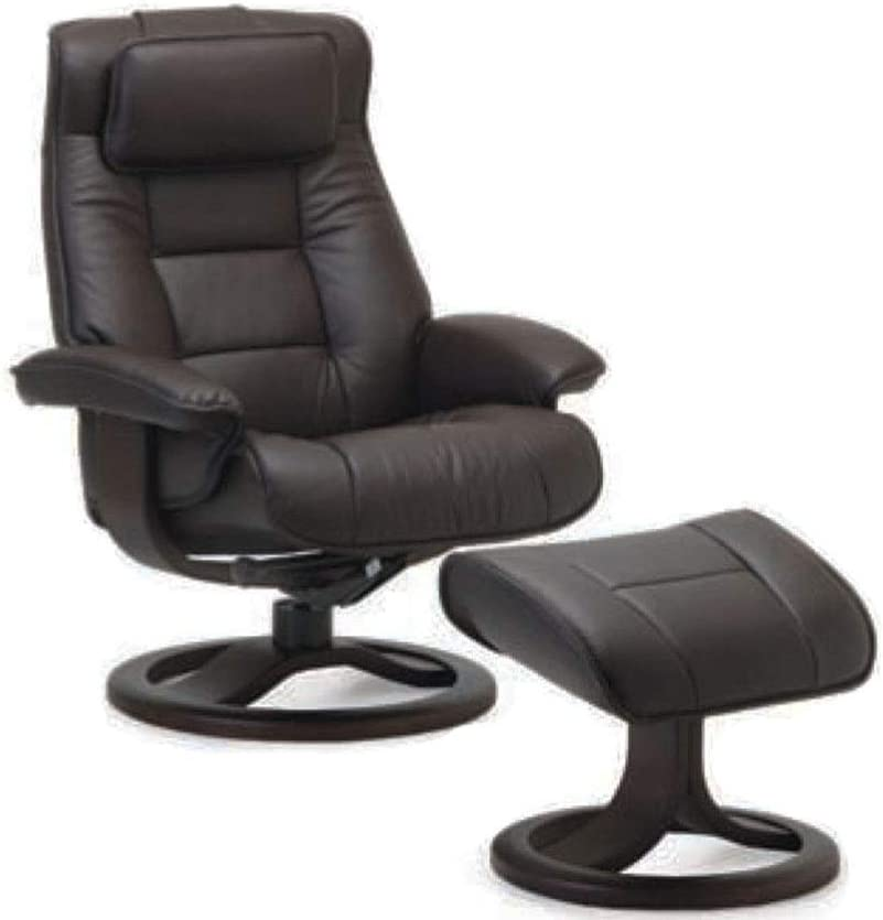 Fjords Mustang Large Leather Recliner Chair and Ottoman Norwegian Ergonomic Furniture Nordic Line Genuine Black Leather Espresso Wood