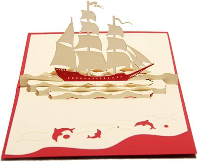 3D Pop Up Greeting Card Handmade Sailboat Postcard Birthday Valentine Invitation