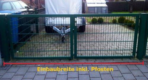Doppelfl/ügeltor Einfahrtstor Gartentor Matten-Tor Hoftor Gr/ün 450cm x 103cm inkl Pfosten
