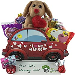 Happy Valentine's Day: Candy-filled Gift Basket with Stuffed Animal
