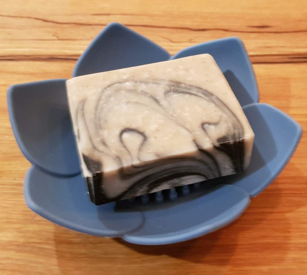 Blue Stop Mushy didh Dry CLAIRLA Lotus Flowers Soap Dish with Drain for Bathroom /& Kitchen Easy Cleaning Toilet Waterfall Soap Holder sish Saver