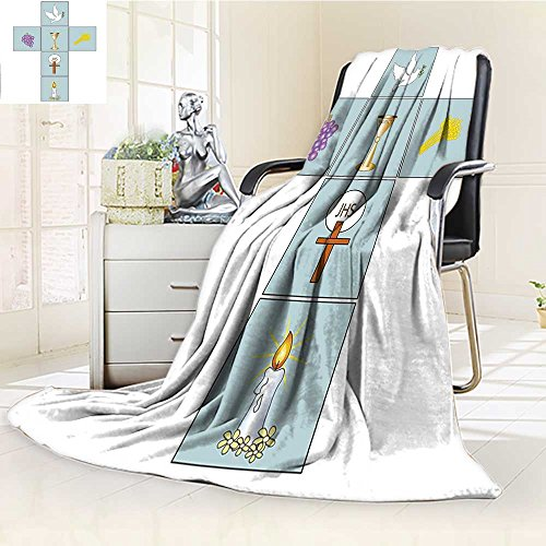 rmal Duplex Printed Blanket,Baptismal Cross Bible Faith Believing Greeting Welcoming Baptize Basin Christ Art Soft and Breathable Cotton/W59 x H47 ()