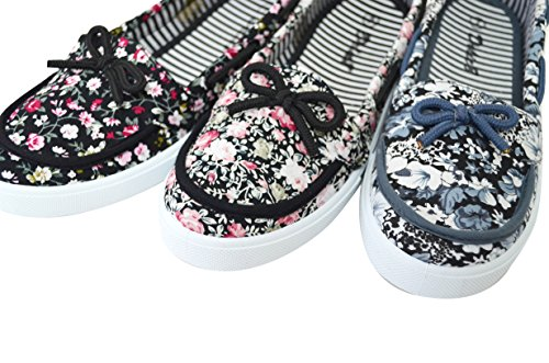 Shoelace Womens Slip On Foral Flats Shoes Canvas Casual Boat Flat Round Toe Shoes 55-black Rose jy14sv