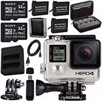 GoPro HERO4 Black + Rechargeable Battery + Dual Battery Charger + Sony 32GB microSDHC Card + Case for GoPro HERO4 and GoPro Accessories + Tripod Adapter For GoPro Bundle