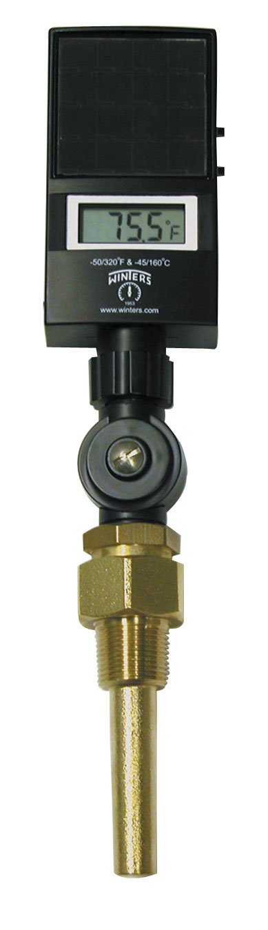 Winters TSD Series Industrial 9IT Digital Thermometer, Solar Powered Display, 3/4'' NPT Connection, Brass Thermowell, 3-1/2'' Stem, -45 to 260 Degrees C, -50 to 320 Degrees F, Accuracy of + or - 1% of Reading