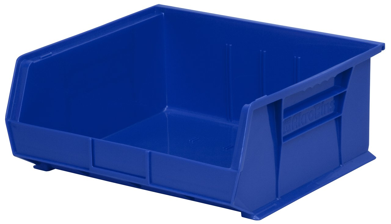 Akro-Mils 30235 Plastic Storage Stacking Hanging Akro Bin, 11-Inch by 11-Inch by 5-Inch, Blue, Case of 6