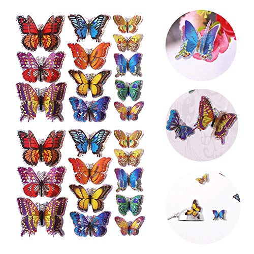 (48PCS 3D Butterfly Wall Stickers with Double Wings,Butterfly Wall Decals Removable DIY Home Decorations for Kids Room Home Nursery)