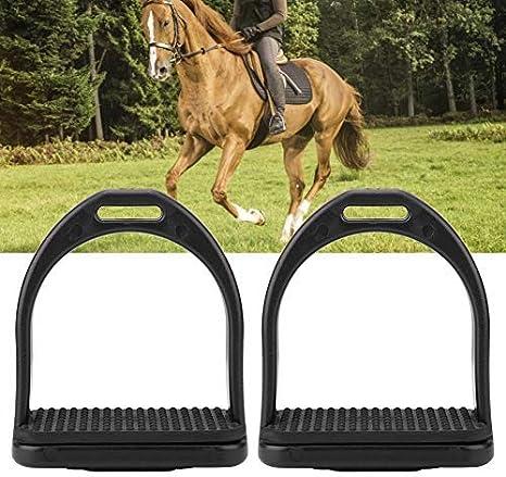 Estribos de Primera Calidad para sillín Sillín de Seguridad Ligero Caballo de Montar Inglés Flexión Fillis Plástico Negro Caballo Estribo(Pequeña)