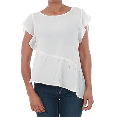 fcd8f2954787 VERO MODA T-Shirt Damen Kurzarm Weiß 10196214 VMBRIGHT S L Flounce Top O17  Snow White  Amazon.de  Bekleidung