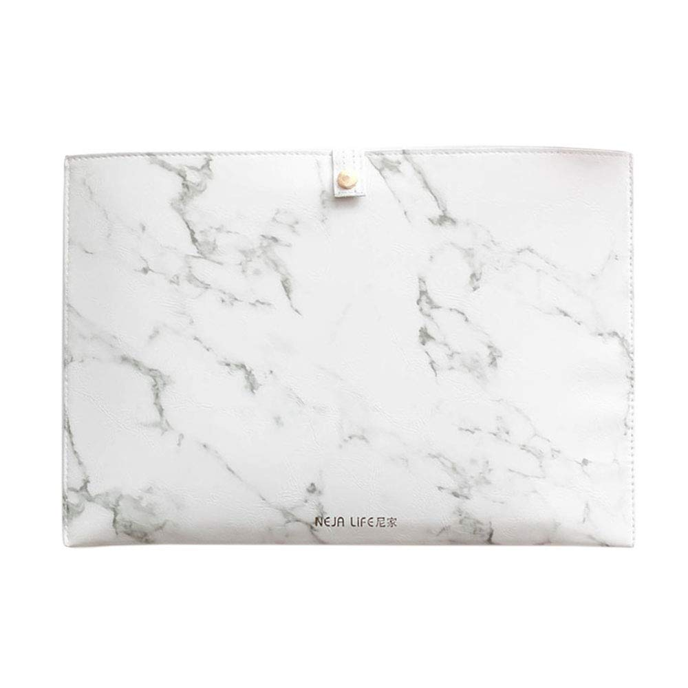 Luxury Marble File Folder Document Resume Organizer Clipboard Portfolio A4 Letter Size Waterproof File Holder (Marble White)
