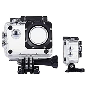 TEKCAM Action Camera Waterproof Case Underwater Protective Housing Case Compatible AKASO EK7000 EK5000/ DBPOWER EX5000/ WiMiUS Q1Q2/ Vemont/APEMAN/ EKEN H9R 4K Sports Camera
