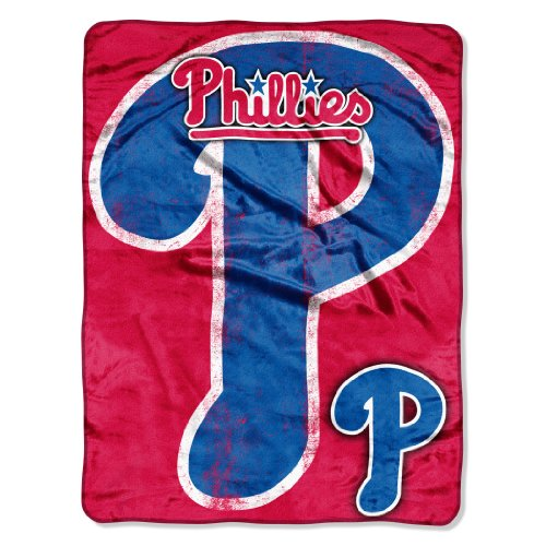 (Officially Licensed MLB Philadelphia Phillies Triple Play Micro Raschel Throw Blanket, 46