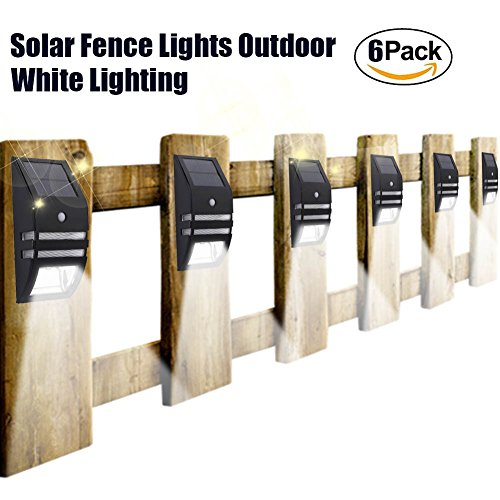 Solar Matel Wall Sconces Accent Lights Deck Fence Post Lamp Led Motion Sensor Waterproof White Lighting For Patio Yard Outdoor Stair Step Driveway Walkway Safty Nightlight 6PACK Set by POPPAP