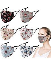 6 Pcs Face Mask Washable, Stylish Cloth 3-Ply Adjustable Reusable Washable Mask