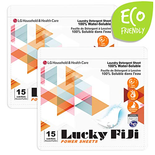 Lucky FiJi LG Laundry Detergent Sheets Power Sheet, More Efficient and Convenient Than Liquid, Pods, or Pacs - Travel & Eco Friendly - Portable Individual Packages - 30 Loads