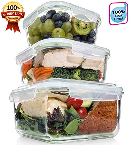 (Extra Large Glass Food Storage Containers with Airtight Lid 6 Pc [3 containers with lids] Microwave/Oven/Freezer & Dishwasher Safe. BPA/PVC Free X-Large/Large/Medium Size Reusable Square container)