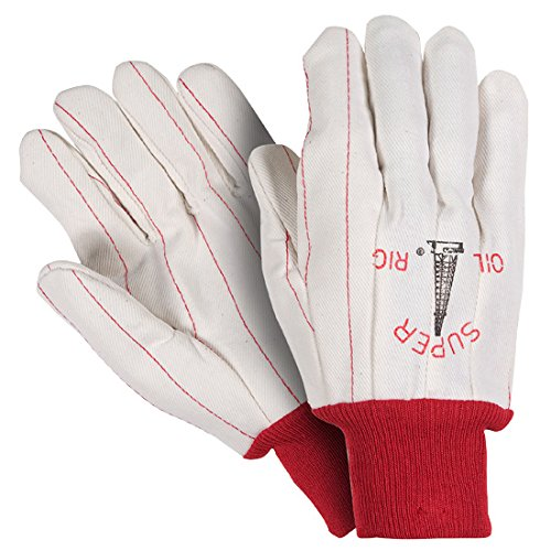 Southern Gloves UPC195 Poly/Cotton Outer Oil Field Gloves, Super Oil Rig, Extra Heavy Weight, Non-Woven Liner, Red Knit Wrist, White (Pack of 12)