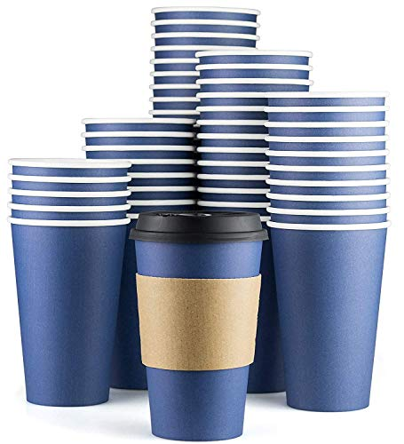 Disposable Coffee Cups With Lids - 16 oz To Go Coffee Cups (90 Set) With Sleeves and Tight Lids Prevent Leaks. Paper Hot Cup Holds Shape With Hot, Cold Drinks. Insulated to Protect Fingers from Heat! -