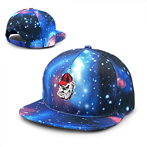 Comfordurable Unisex Geor-gia Bull-Dogs Baseball Cap,Galaxy Style Adjustable Snapback Hip-Hop Flatbrim Hat Dad Hat Blue