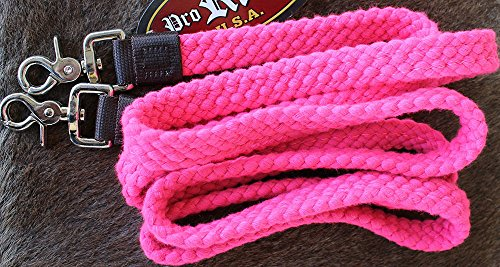 ProRider Roping Knotted Horse Tack Western Barrel Reins Cotton Braided Pink 1