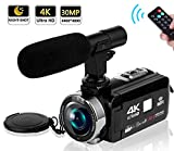 Video Camera Camcorder 4K Camera Camcorder Digital Camera WiFi Video Camcorder 3.0 inch Touch Screen Night Vision Vlogging Camera with External Microphone