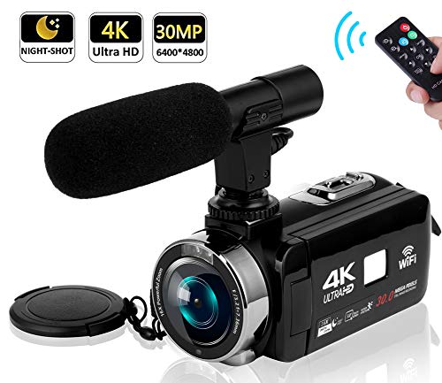 (Video Camera Camcorder 4K Camera Camcorder Digital Camera WiFi Video Camcorder 3.0 inch Touch Screen Night Vision Vlogging Camera with External Microphone)