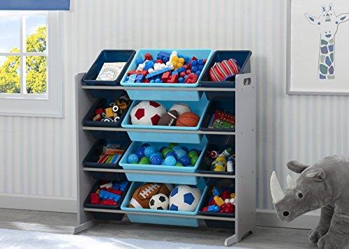 51MF4PmlLfL - Delta Children Kids Toy Storage Organizer with 12 Plastic Bins, Grey/Blue, Grey/Blue