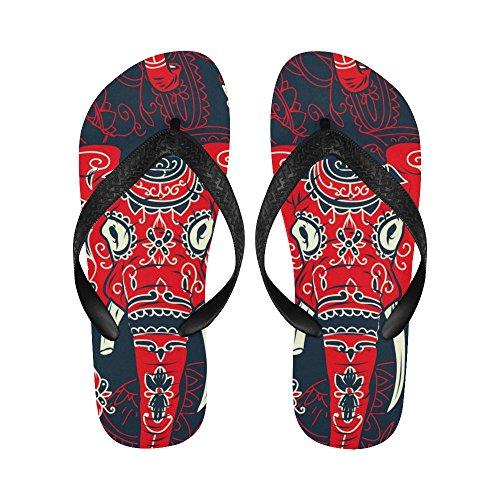 InterestPrint Non-Slip Flip Flop Slippers, Ethnic Indian Elephant Summer Beach Slim Thong Sandal Outdoor Casual Footwear Multi 3