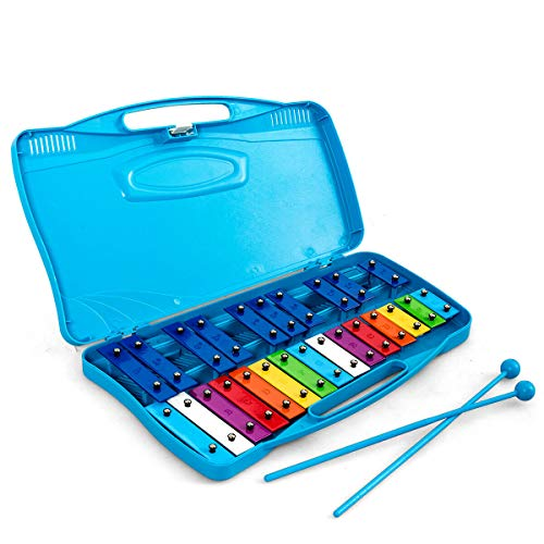 Costzon 25-Note Xylophone w/Case, Colorful Musical Toy w/Clear Tuned Metal Keys, 2 Easy-hold Child-Safe Mallets, Perfect Christmas Gift, Tuned Instrument for Kids, Toddlers (Blue Case)