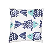Jaipur Animal Print Pattern Blue Polyester Polly Fill Pillow, 20-Inch x 20-Inch, Cloud Dancer Odl Go Fish
