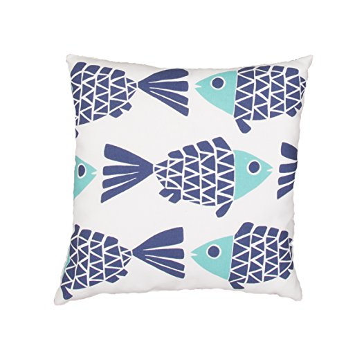 Jaipur Animal Print Pattern Blue Polyester Polly Fill Pillow, 20-Inch x 20-Inch, Cloud Dancer Odl Go Fish by Jaipur