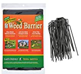 Landscape Fabric Garden Weed Barrier (4'x8') and 6 inch Staples Anchor Pins Bundle (1)