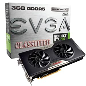 EVGA GeForce GTX 780 Classified w/ EVGA ACX Cooler 3GB GDDR5 384-bit, Dual-Link DVI-I/DVI-D HDMI DP SLI Ready Graphics Card 03G-P4-3788-KR