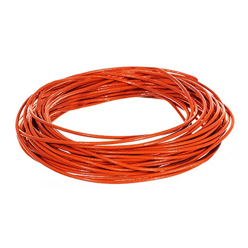 1.5mm Genuine Round Leather Cord Strips for Bracelets, Necklaces, Beading, and Other Jewelry Making – 10 Yards / 9.1 Meters – Orange