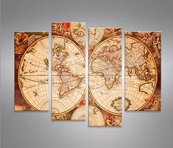World Map -4er Quadri moderni intelaiati - pronti da appendere ...