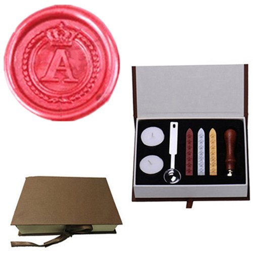 MDLG Vintage Alphabet Letter A Crown Wreath Initial Embossment Wedding Invitations Gift Cards Wax Seal Stamp Stationary Sealing Wax Stamp Wood Handel Gift Box Candles Wax Sticks Melting Spoon Kit Set