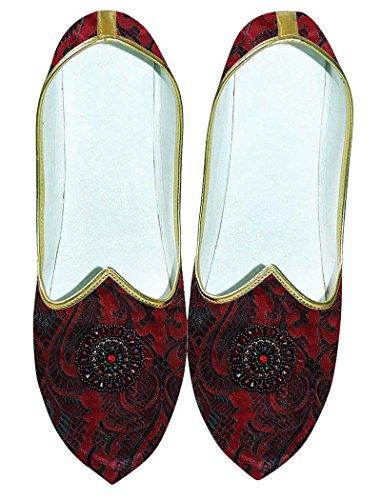Inmonarch Hombres Zapatos Boda Marrón Bordado Mj0701