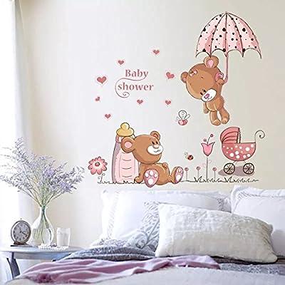 WandSticker4U- Wandtattoo BABY BÄR in rosa I | wandbilder: 120x60 cm | süß  Bärchen Teddy bear Herz Blumen Schmetterlinge Marienkäfer | ...